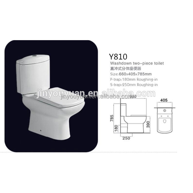 sanitary ware bathroom wc toilet ceramic washdown s trap p trap two piece toilet china supplier cheap toilet on sale Y810