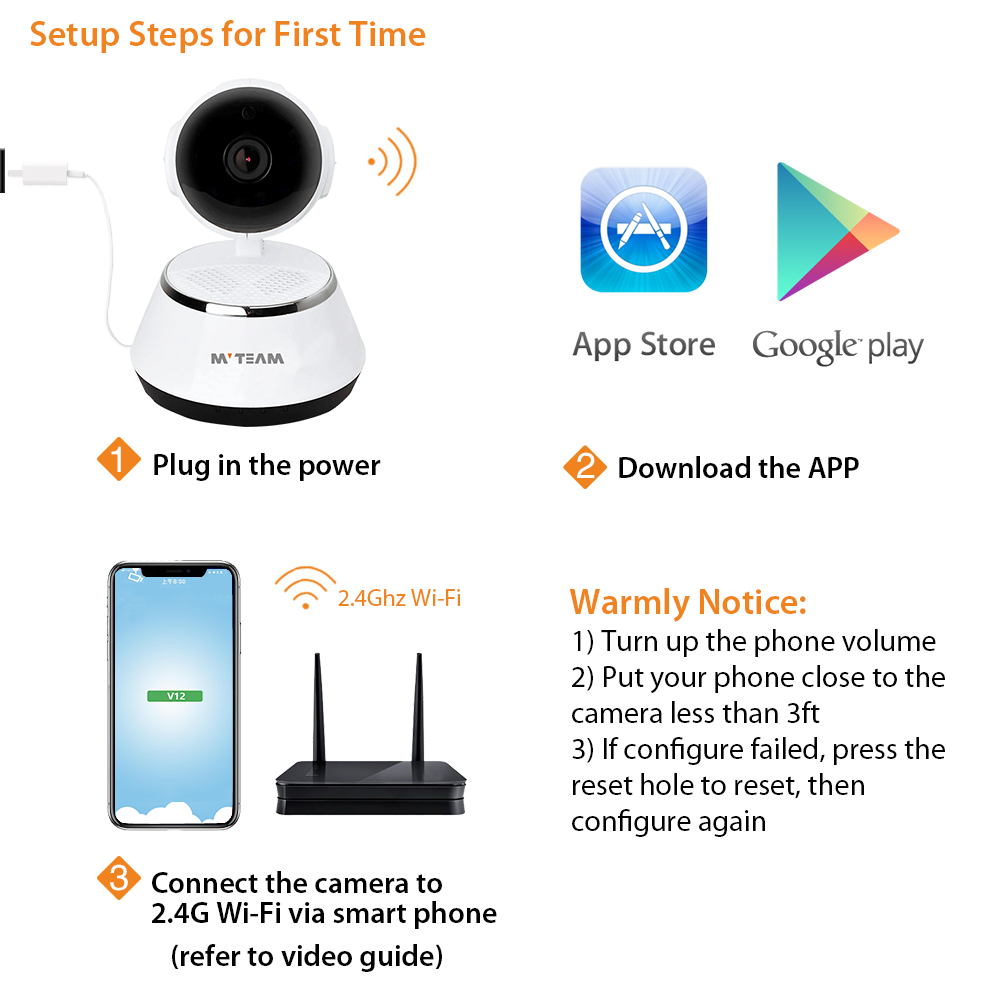 2MP 1080P Smart Home P2P Cloud Motion Detection PTZ Small IP Wifi Wireless Security Cameras with Free Android iOS APP V12