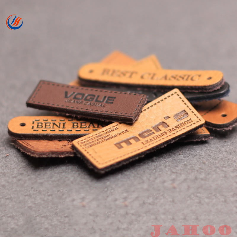 New Fashion Denim PU Jeans Leather Label For Clothes And Shoes