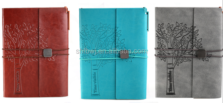 A5 embossed leather notebook cover book printing bound hard cover custom notebook