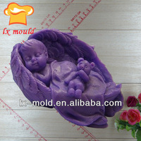 3d angel wing sleeping baby with bear soap mold silicone molds