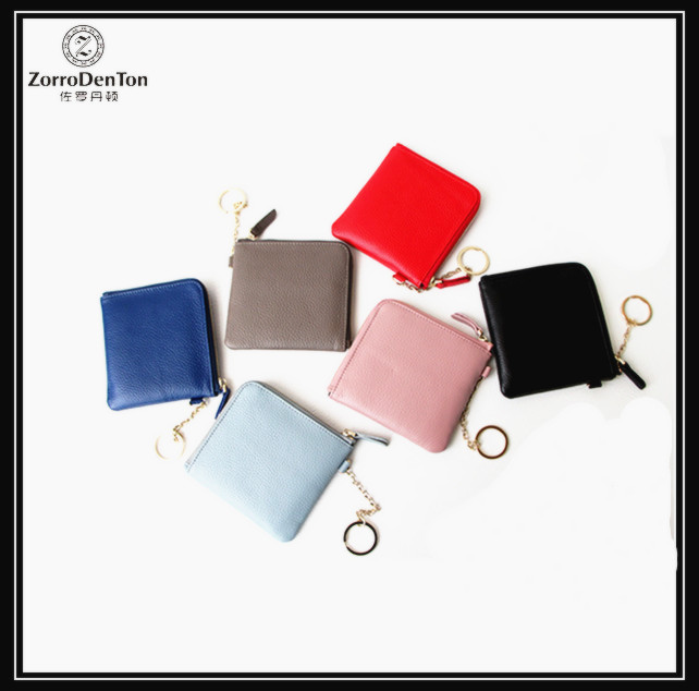 Portable genuine leather minimalist wallet and small purse women with key ring