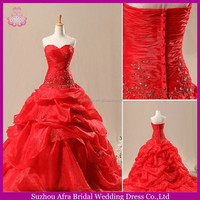 SW1007 ruffle ball gown organza long tail cheap red wedding dresses 2014