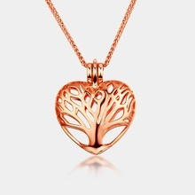 Rose gold plated Heart tree of life pendant perfume diffuser magnetic locket