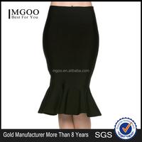 MGOO New Arrival Cotton White Mermaid Skirt For Women High Waist Stretch Black Dress For Women