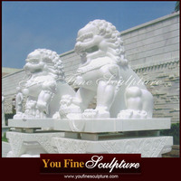 Tiananmen Square Marble Chinese Fu Dogs Statues Of Traditional Lions