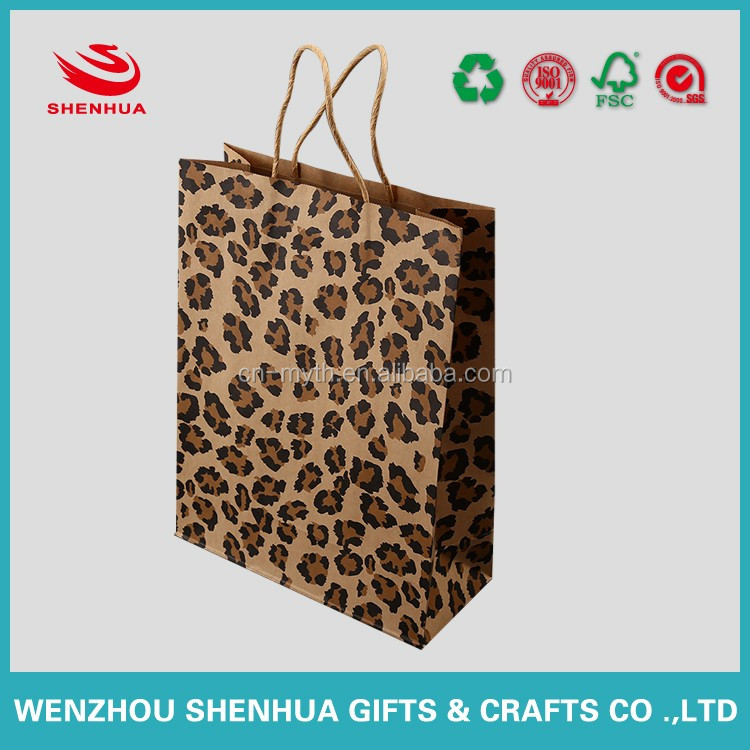 brown kraft paper bag shopping bag with twisted handles and printing from wenzhou china