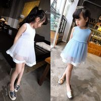 Wholesale manufacturers Kids girls cotton blue and white dress