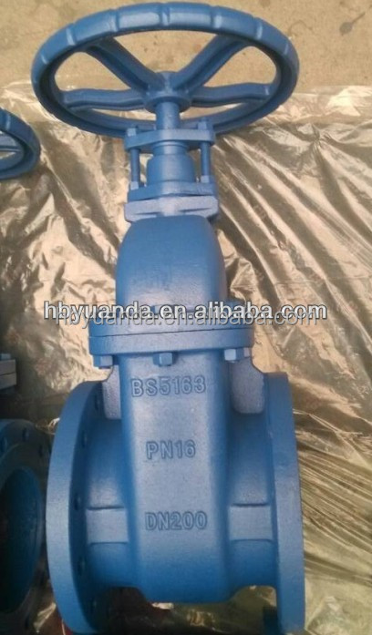 cast iron flange connection BS5163 gate valve(solid type,metal type)