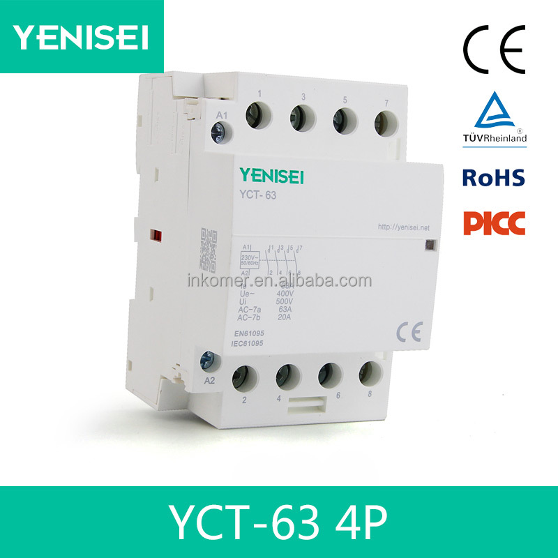 4P 63A household ac magnetic modular contactor with din rail