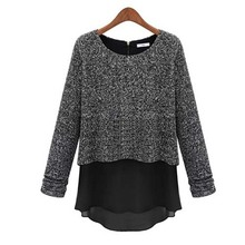 NF1013 stylish design knitted t-shirts casual short fake two-piece women t-shirt