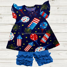 0-12 year kid clothes boutique girl fireworks and balloon set matching ruffle short summer fashion newborn baby clothing remark
