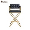 Modern Luxury Hotel Black Genuine/PU Leather Golden Chrome Stainless Steel X Base Leisure Bar Chair