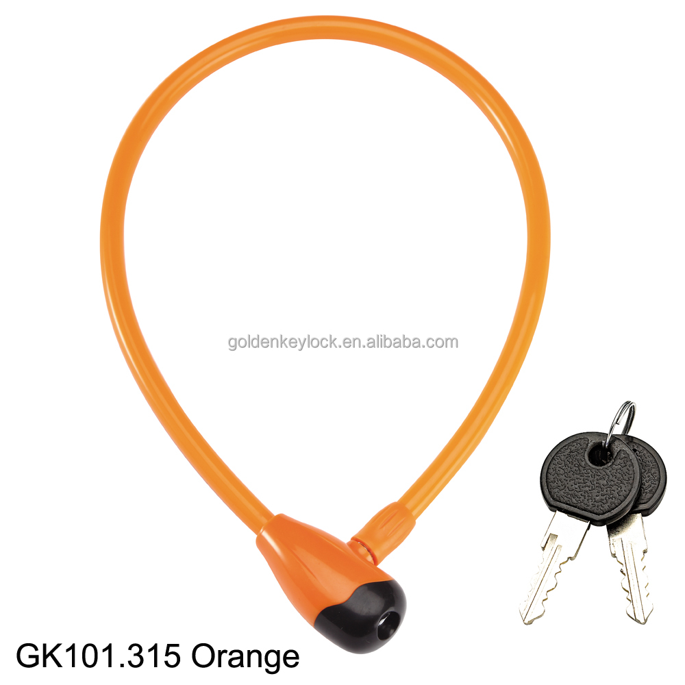 GK101.315 Orange Steel Coil Cute Cable Lock for Stroller, Kids Bike