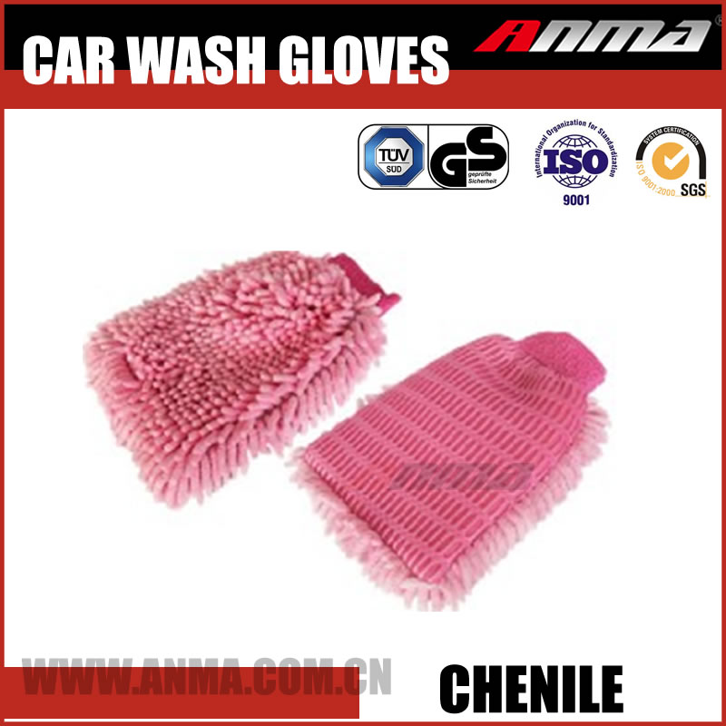 Top pink absorbent Dry fast plush magic Chenile Cleaning car wash glove AM508-X023