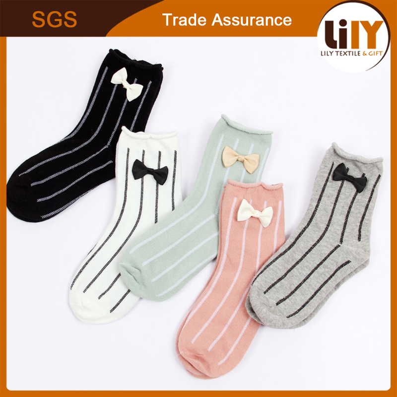 Hot New Butterfly Bow Cotton Children Tube Socks Girl Sock