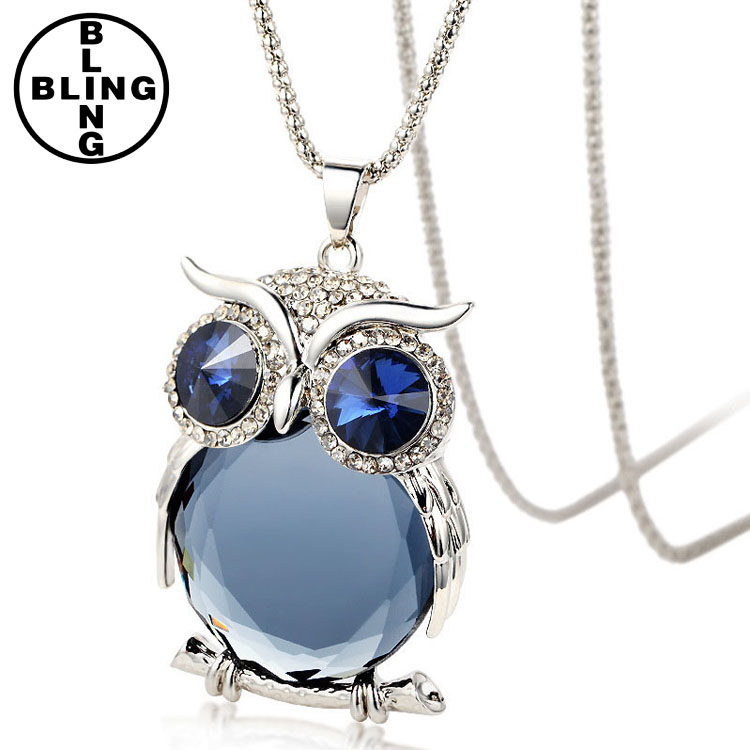 2017 New Fashion Cute Rhinestone Owl Pendant Long Necklace Crystal Owl Pendant Necklace for Women