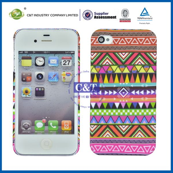 C&T Fancy shiny trinangle pattern rubberized front plastic phone cases for iphone4s