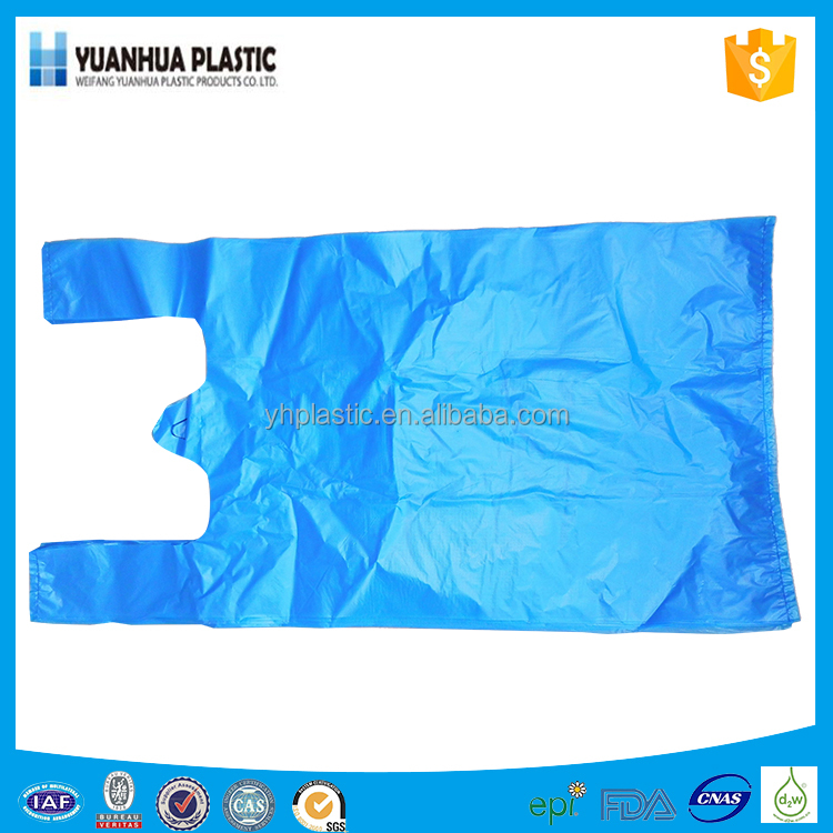 HDPE t shirt bags on roll,unprinted plastic bags on blocked