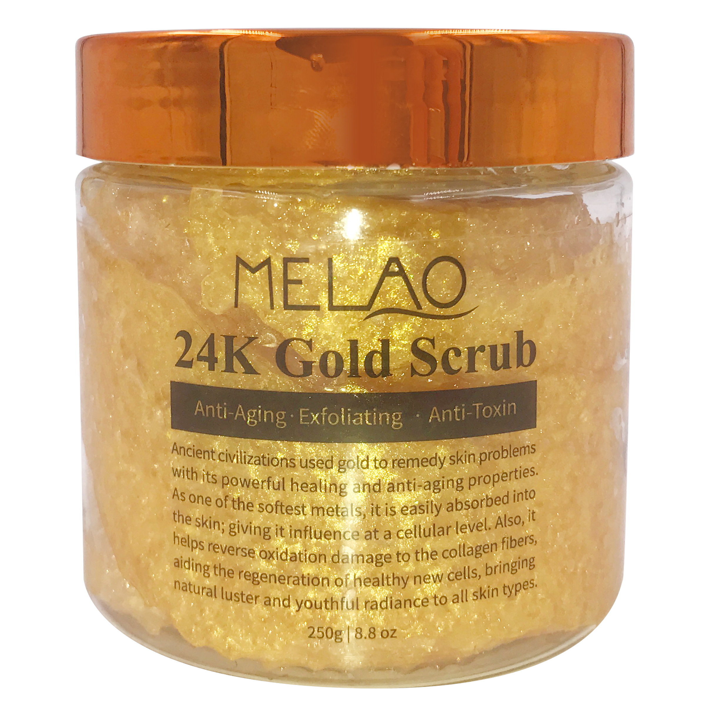 MELAO Wholesale Private Label Pure 100% Natural Organic Ingredient Effective 24k gold body &facial scrub