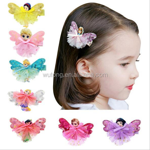 princess butterfly Bow Girls Hair Accessories For Baby Cartoon Girl Hair Clips Hairpin 7 Colors new 2017