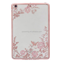 Diamond flower chrome TPU case back cover for iPad Mini 2 3 4