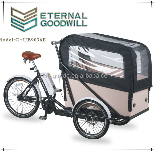 CE Danish bakfiets adult tricycle electric cargo bike for selling UB9036E for family
