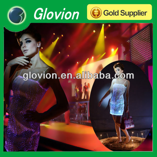 Fashion Optical fiber clothing rainbow colored wedding dresses led light up dress