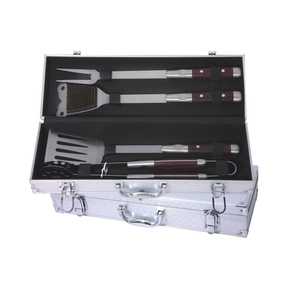Hot Sale Wire Steel Barbecue Tongs / 5-pc stainless steel bbq tool set BBQ-04BM-16 Aluminum Box