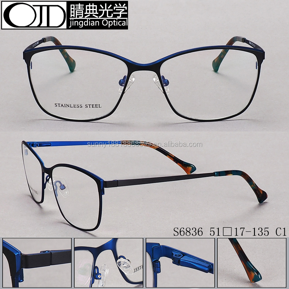 Factory Wholesale High Quality Acetate Glasses Frame Stainless Steel Optical Frame S6836