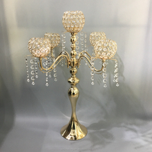 Tall wedding decoration crystal table candles holder 5arms gold candelabra