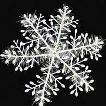 White Plastic Christmas Snowflake Sheet Ornament, Merry Xmas Tree House Decoration With Shining