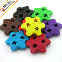 blister packing showing set plastic wax crayon 3D pentagram shapes crayon