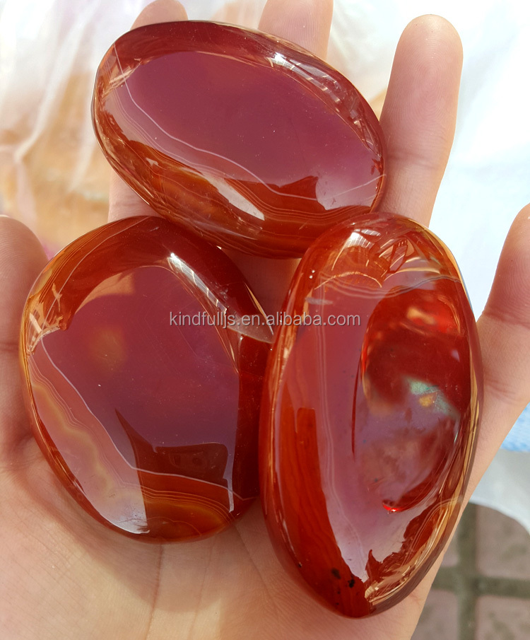 Natural Rock Polished Red Agate Palm Stones Carnelian Agate Stones