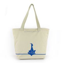 Low MOQ nature white color promotional extra large cotton canvas tote bag with zipper closure