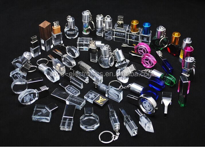 LED Light Transparent Crystal 3D mini USB Flash Drive, Fashion LED Color Style Crystal Pendrive with Logo Laser