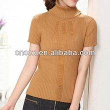 13STC5060 fashion high collar ladies short sleeve sweater