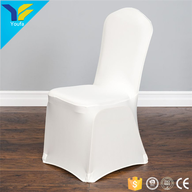 Ivory spandex-like 100% polyester material stretch wedding banquet chair cover