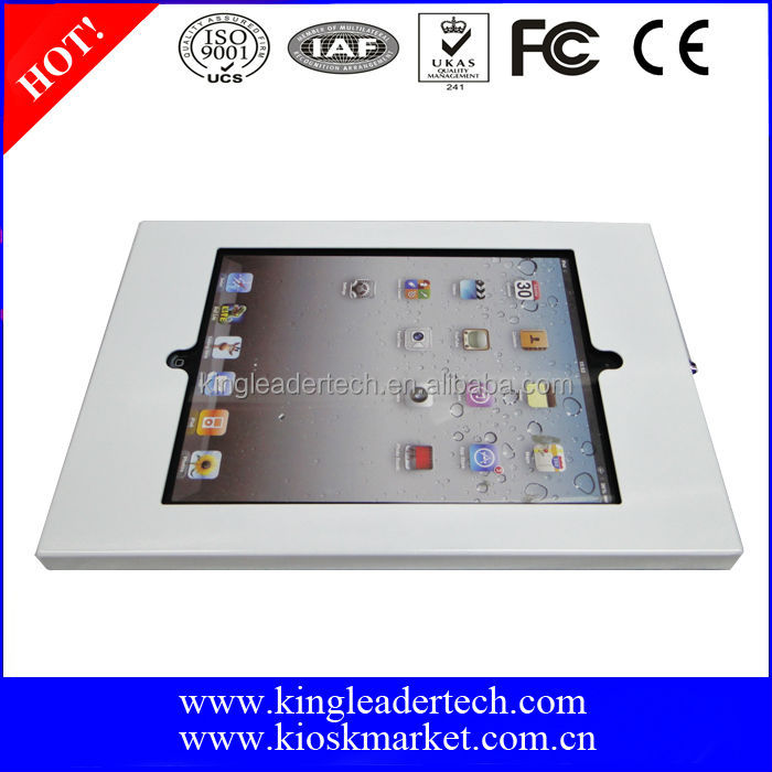 VESA mounting holes white lockable metal kiosk enclosure case for ipad air
