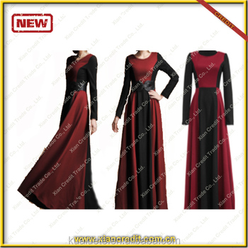 2014 Ladies Fashion contrast color Autumn and winter Dresses made of woolen KDT- D17