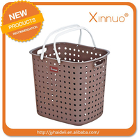 Colored round plastic laundry baskets hanging storage baskets