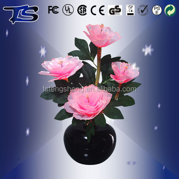 Indoor use Very hot sale Pink Penoy with LED Color changing fiber optic flower with metal base or plastic base