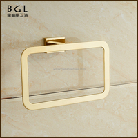 Bathroom sanitary items zinc alloy square design golden towel ring