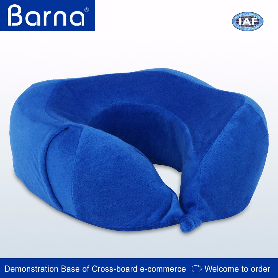 foldable portable memory foam semi circular travel neck pillow cushion with removable cover