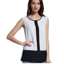 monroo Women European Casual Office Wear Tops Plus Size V Neck Chiffon Blouses Sleeveless Shirts 6 Colors Blusas Femininas