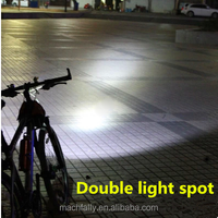 High quaitity double light spot aluminum rechargeable bicycle front light T6 led bicycle light