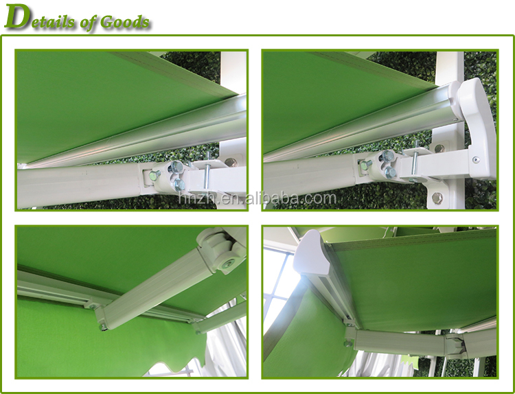 Popular low price manual simple patio non cassette retractable awning with hand crank