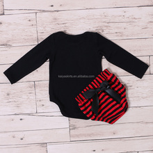 wholesale price plain longsleeve cotton black romper red with black stripe bloomer new romper with underwear sets