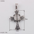 Fashion Mens Cross Pendant W/Cat Eyes