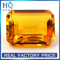 Emerald Cut Synthetic Nano Spinel Yellow Crystal